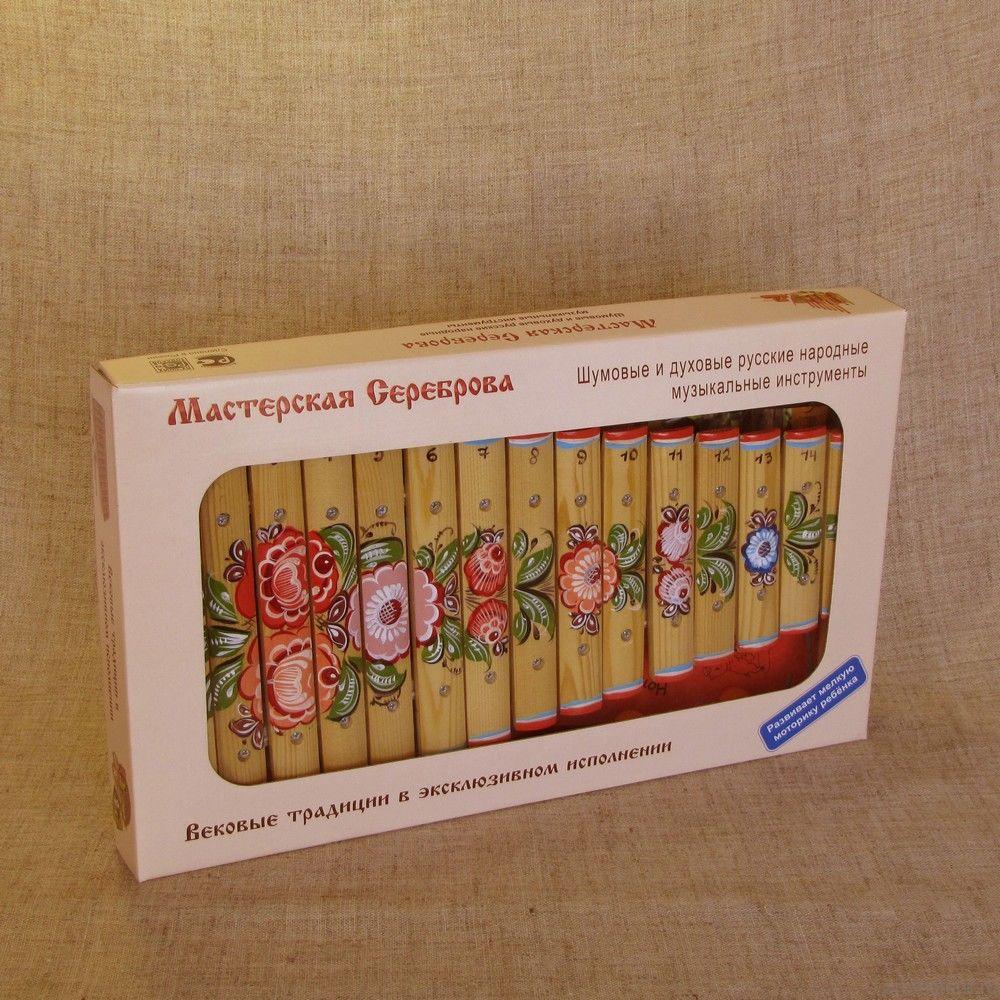 Ксилофон диатонический (15 пластин) с росписью