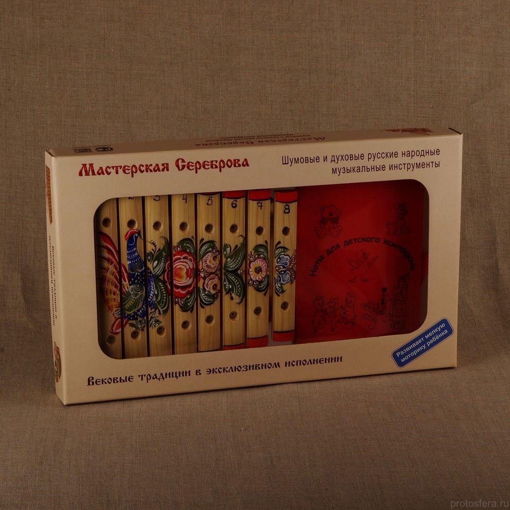 Ксилофон диатонический (8 пластин) с росписью