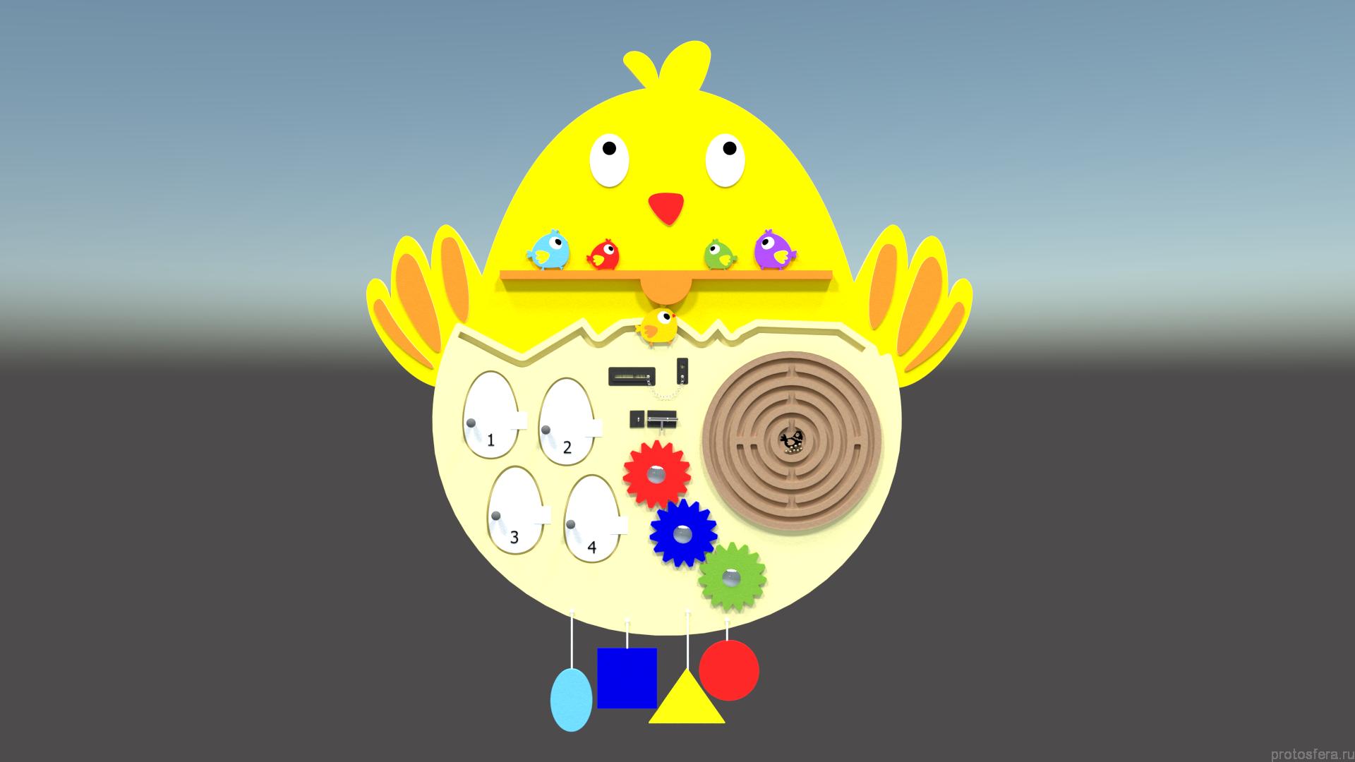 Тактильно-развивающий набор панелей «Птицы»